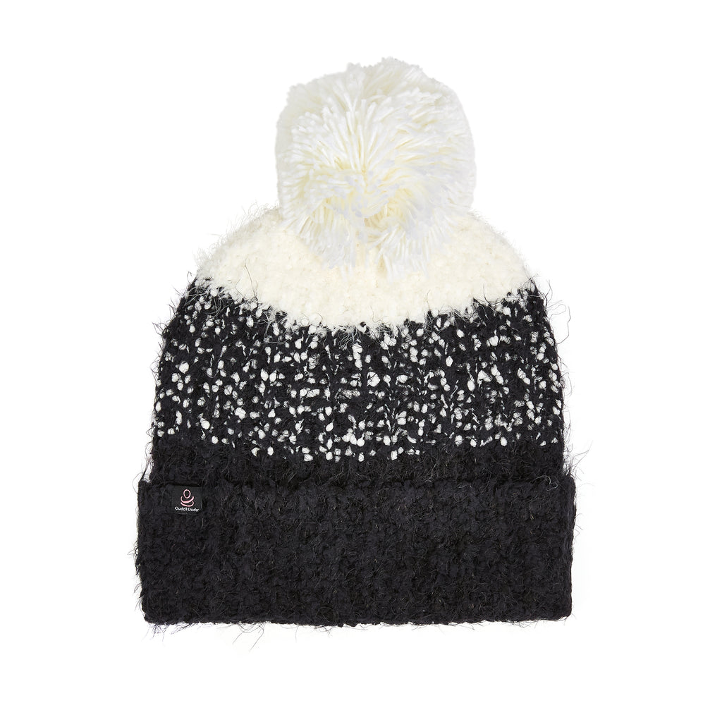 Knit Ombre Pom Cuff Hat
