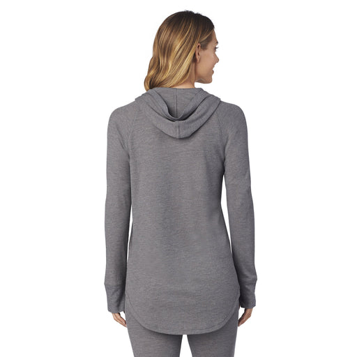 "Stone Grey Heather;Model is wearing size S. She is 5'9"", Bust 32"", Waist 25.5"", Hips 36""."