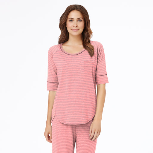 Coral Heather Double Stripe