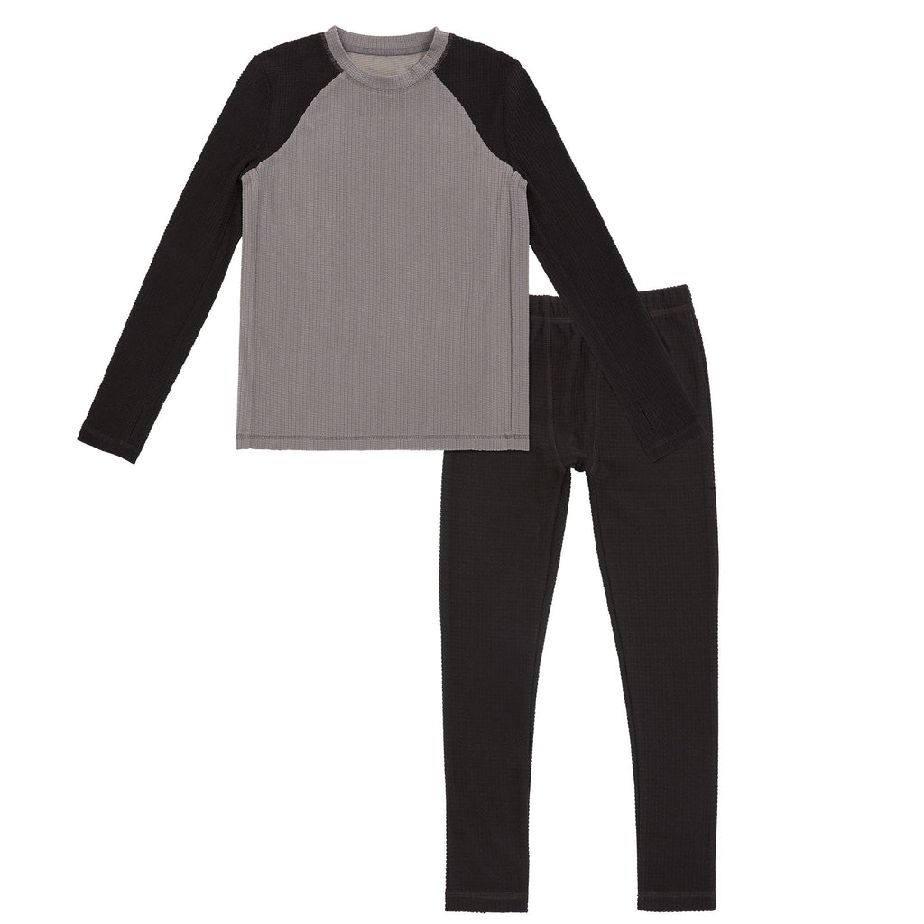Boys Texture Grid 2 pc. Long Sleeve Crew & Pant - Set