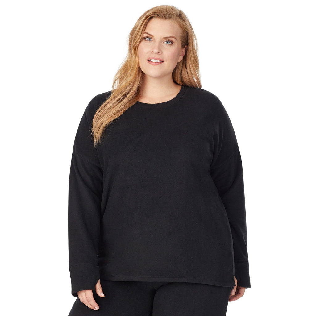 Fleecewear With Stretch Lounge Long Sleeve Pullover PLUS