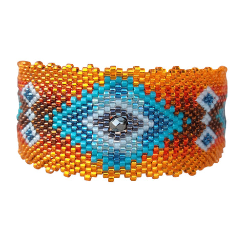 Bracelet Navajo : bleu et orange