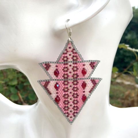 Boucles d'oreille triangle dégradé rose ou gris