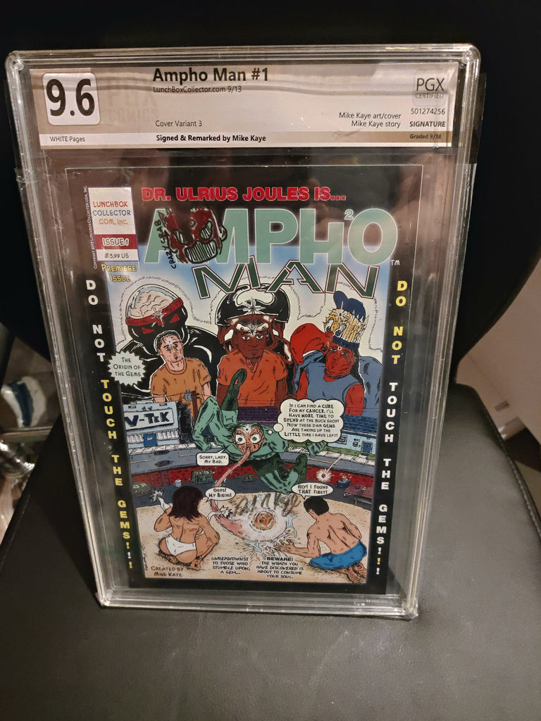 Ampho Man 1 9.6 PGX graded  Signed and remarked by Mike Kaye