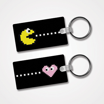 Pacman Attracts Heart - Couple - Keychain