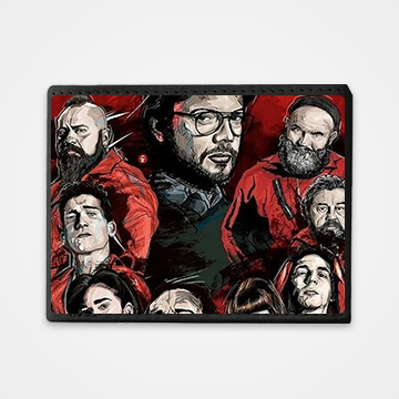 Characters Collage - Money Heist - Graphic Printed Wallets
