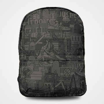 Black Abstract - Allover Printed Backpack