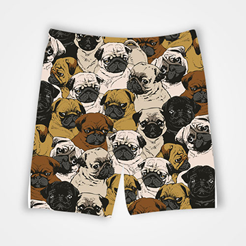 Pug Collage - All Over Printed Shorts