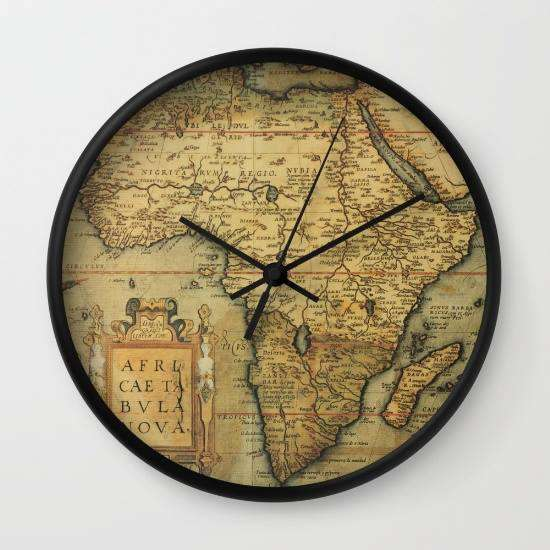 Antique Map Of Africa - Wall Clock