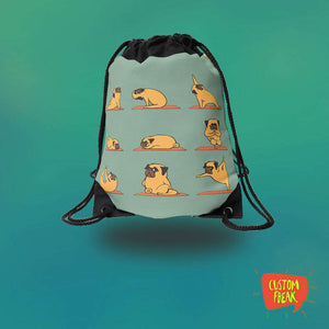 Drawstring Bag Pug Yoga
