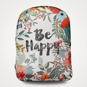Be Happy - Allover Printed Backpack