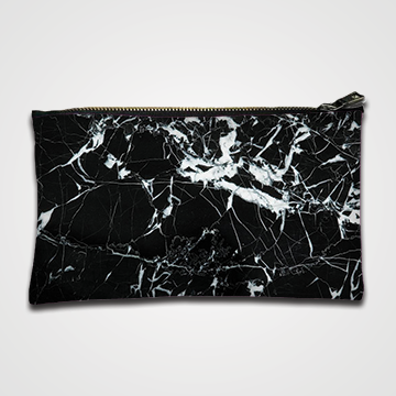 Black Marble - Zipper pouch