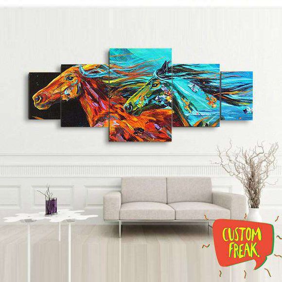 Abstract Horse 02- Set of 5 - Wall Hangings - Custom Freaks