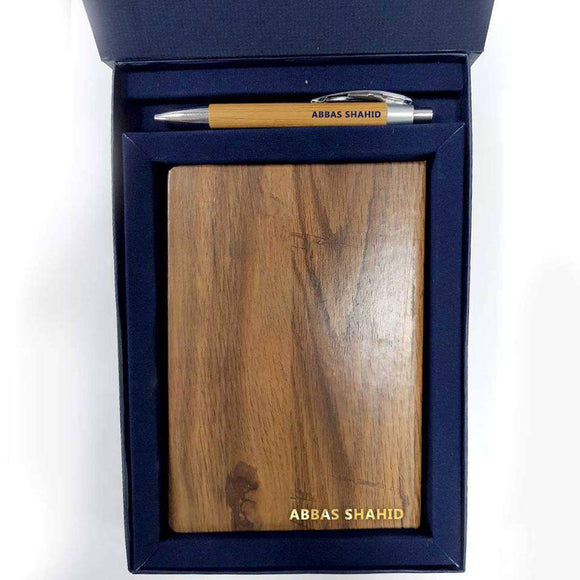 Wooden Diary & Pen With Classic Gift Box