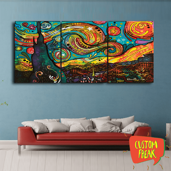 Van Gogh Starry Nights Colored - Set Of 3 - Wall Hangings