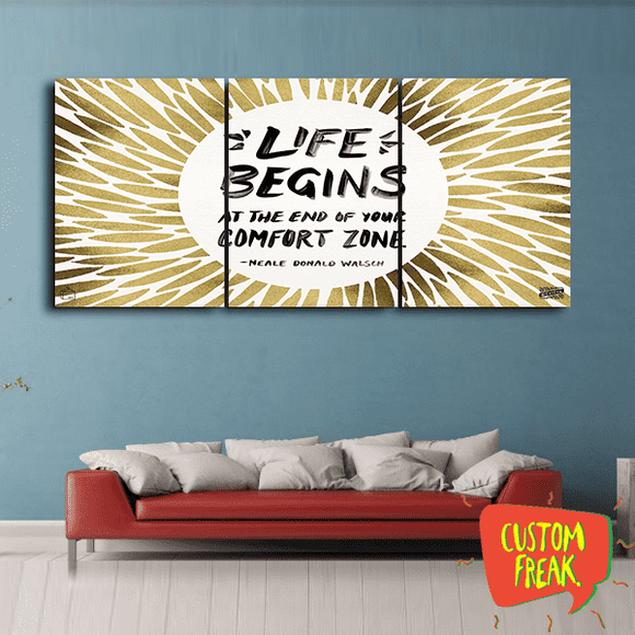 Life Begins At The End Of Your Comfort Zone - Set Of 3 - Wall Hangings