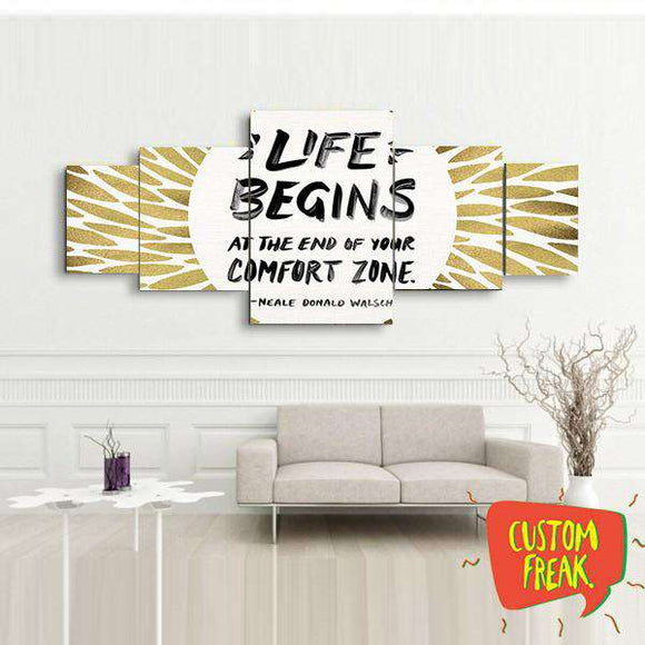 Life Begins At The End Of Your Comfort Zone- Set Of 5 - Wall Hangings