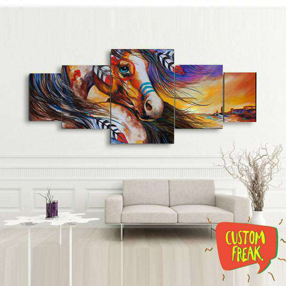 Indian Horse 02- Set Of 5 - Wall Hangings
