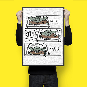Protect Attack Snack - Baby Yoda- Wall Hangings