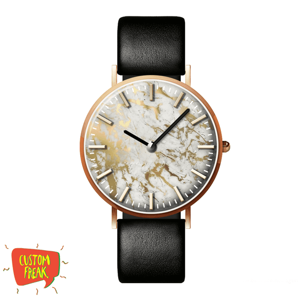 White And Gold Marble - Wrist Watch