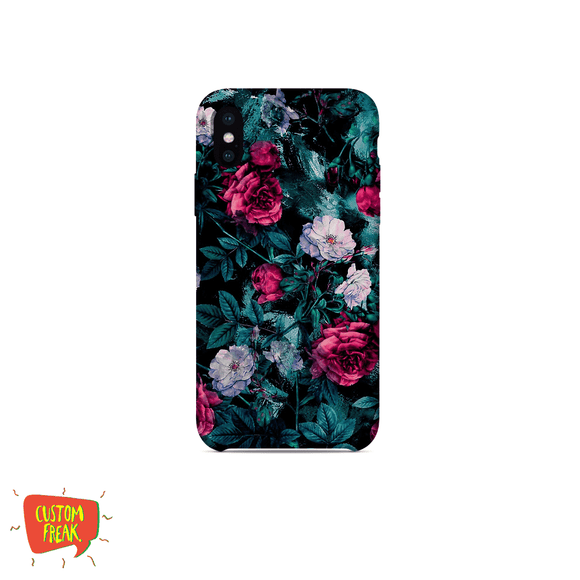 Black Floral Print 01 - Cell Cover - Cell Cover