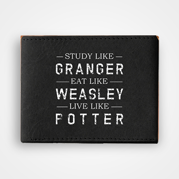 Study Like Granger Eat Like Weasley Live Like Potter - Graphic Printed Wallets