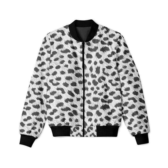 Black and White Leopard Furs  - Bomber Jacket