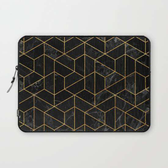 Laptop And Tablet Sleeves Black Marble