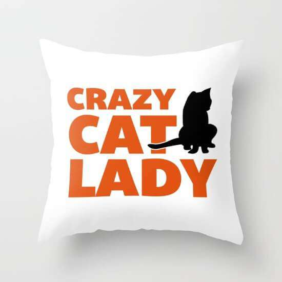 Crazy Cat Funny Quote Cushion