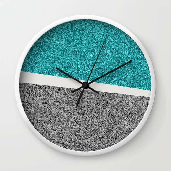Digital Pen & Ink Turquoise & Black Doodles - Wall Clock