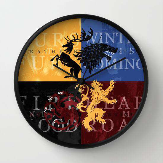 Game Of Thrones - Houses - Wall Clock