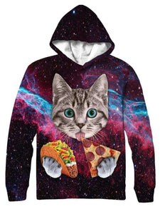 Cat With Taco And Pizza All Over Hoodie & Sweatshirt