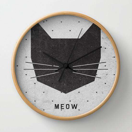 Meow - Cat - Wall Clock