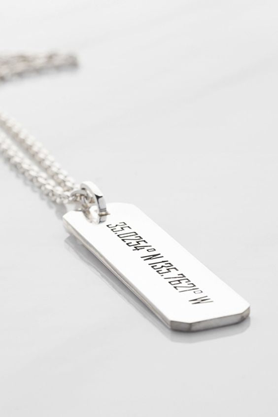 Rectangular Location Pin Engrave - Necklace