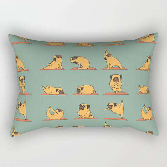 Pug Yoga Pillow Cover