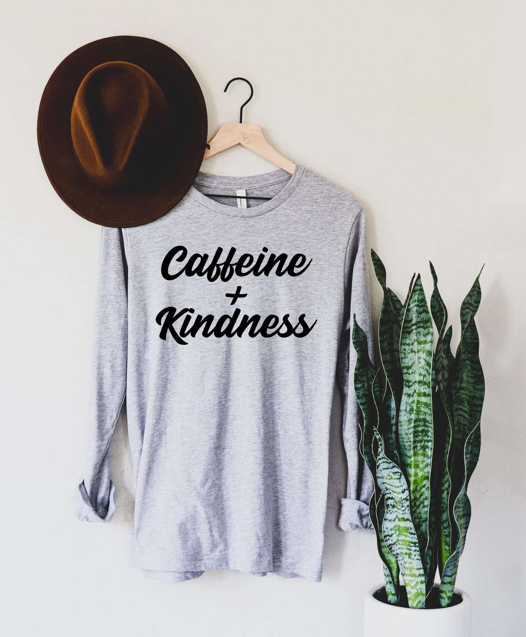Caffeine + Kindness - Long Sleeve Grey