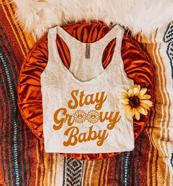 Stay Groovy Baby Tank  - Women's Fit