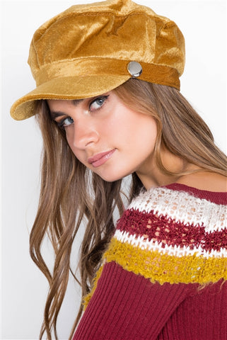 Velvet Camel Cabbie Hat︱ One Size Fits Most ︱✿ Free Shipping ✿