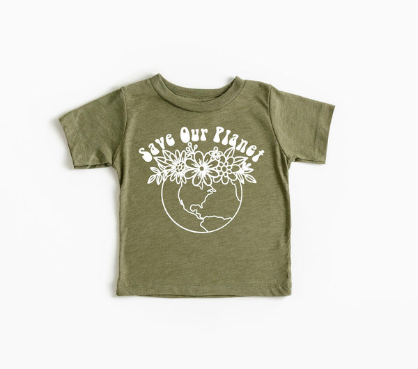 Save Our Planet -  Olive Triblend - Baby,Toddler, Youth, & Adult TEE sizes! - 30% OF PROFITS DONATED!