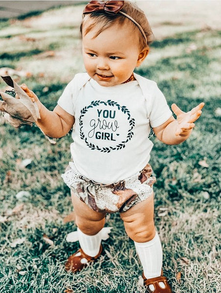 You grow girl -  Baby Bodysuit - Two Colors
