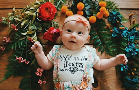 Wild as the flowers -  Baby Bodysuit - Two Colors