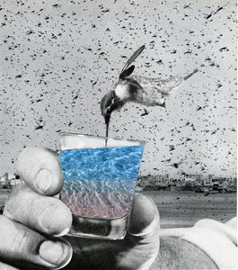 "Birds Abuzz - By: Susan Learner (Analog Collage - 9.25"" x 10.25"")"