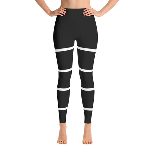 White Stripes Yoga Leggings - Exclusive Design - Prime Desire Athleisure - Best High Waisted Workout Leggings