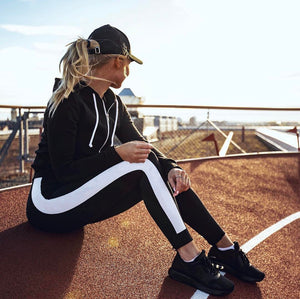 WhiteStripe Running Pants - Prime Desire Athleisure - Best High Waisted Workout Leggings