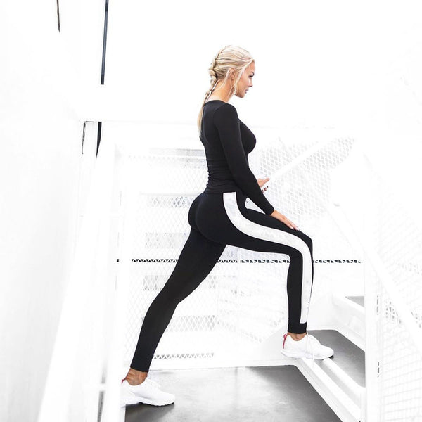 WhiteStripe Running Pants - Prime Desire Sportswear - Best High Waisted Leggings