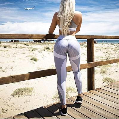Radical Mesh Pattern Leggings - Grey - Prime Desire Sportswear - Best High Waisted Leggings
