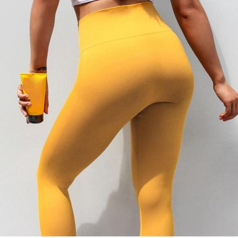 GymLove High Waist Leggings - Yellow - Prime Desire Athleisure - Best High Waisted Workout Leggings