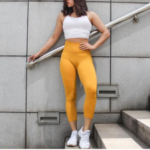 GymLove High Waist Leggings - Yellow - Prime Desire Sportswear - Best High Waisted Leggings