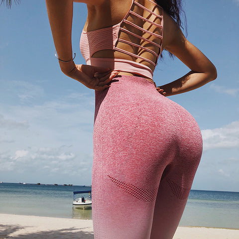 GymTime Ombre High Waist Leggings - Pink - Prime Desire Sportswear - Best High Waisted Leggings