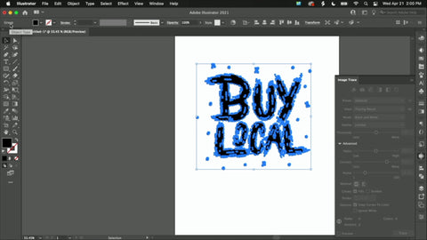 """A vectorized image of the words """"Buy Local"""" with anchor points surrounding the words."""
